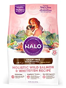 Halo Grain Free Natural Dry Dog Food, Small Breed Healthy Weight Wild Salmon & Whitefish Recipe