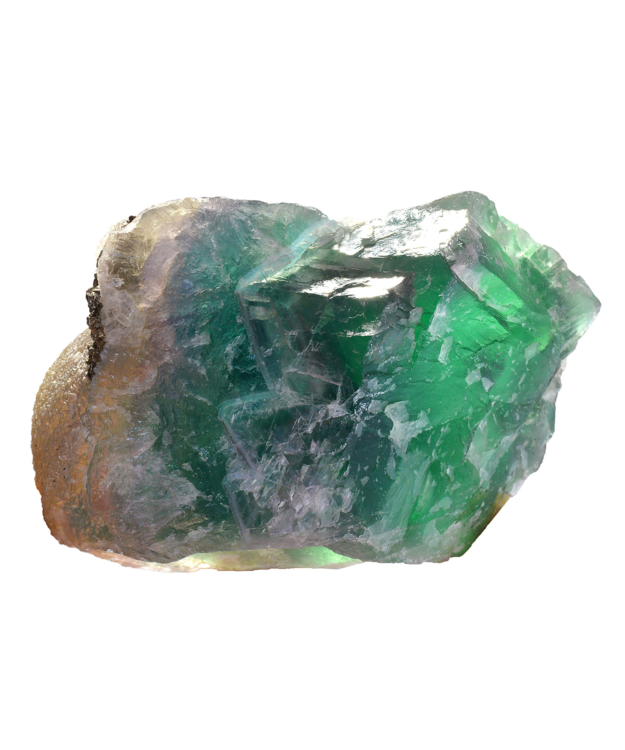 Rare Natural Green Purple Rainbow Fluorite with Pyrite Charged Crystal Healings Reiki Feng Shui