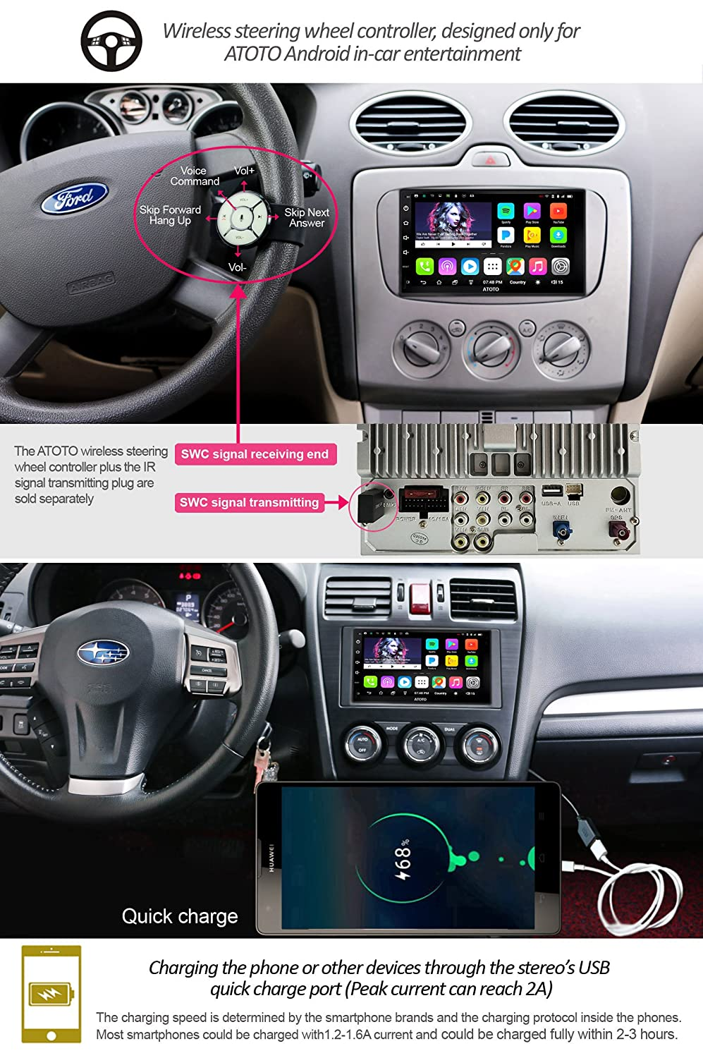 Atoto A6 Android Car Navigation Stereo 2x Bluetooth Nissan Sentra Radio Removal On Home Equipment Wiring Diagram Quick Charge Premium A6y2721p 2g 32g Universal Auto Entertainment Multimedia