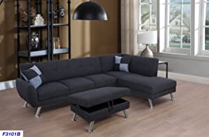 Beverly Fine Furniture Sectional Sofa Chaise Set, Charcoal Grey