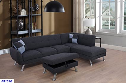 Beverly Fine Funiture CT3101B Sectional Sofa Set, Charcoal Grey