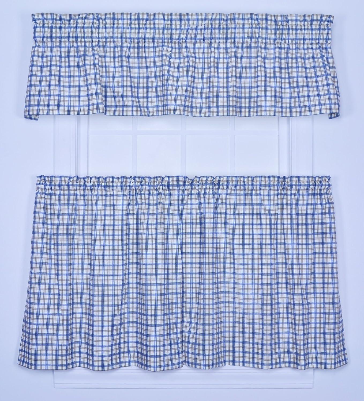Ellis Curtain Bristol Collection Two-Tone Plaid Tailored Valance Window Curtain, Blue
