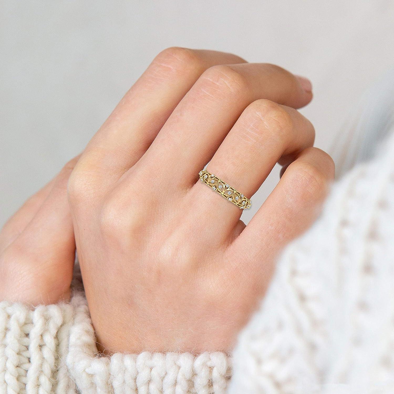 Design Karree Diamant Schmuck Geburtstag Jahrestag Eheringe für Damen Nett