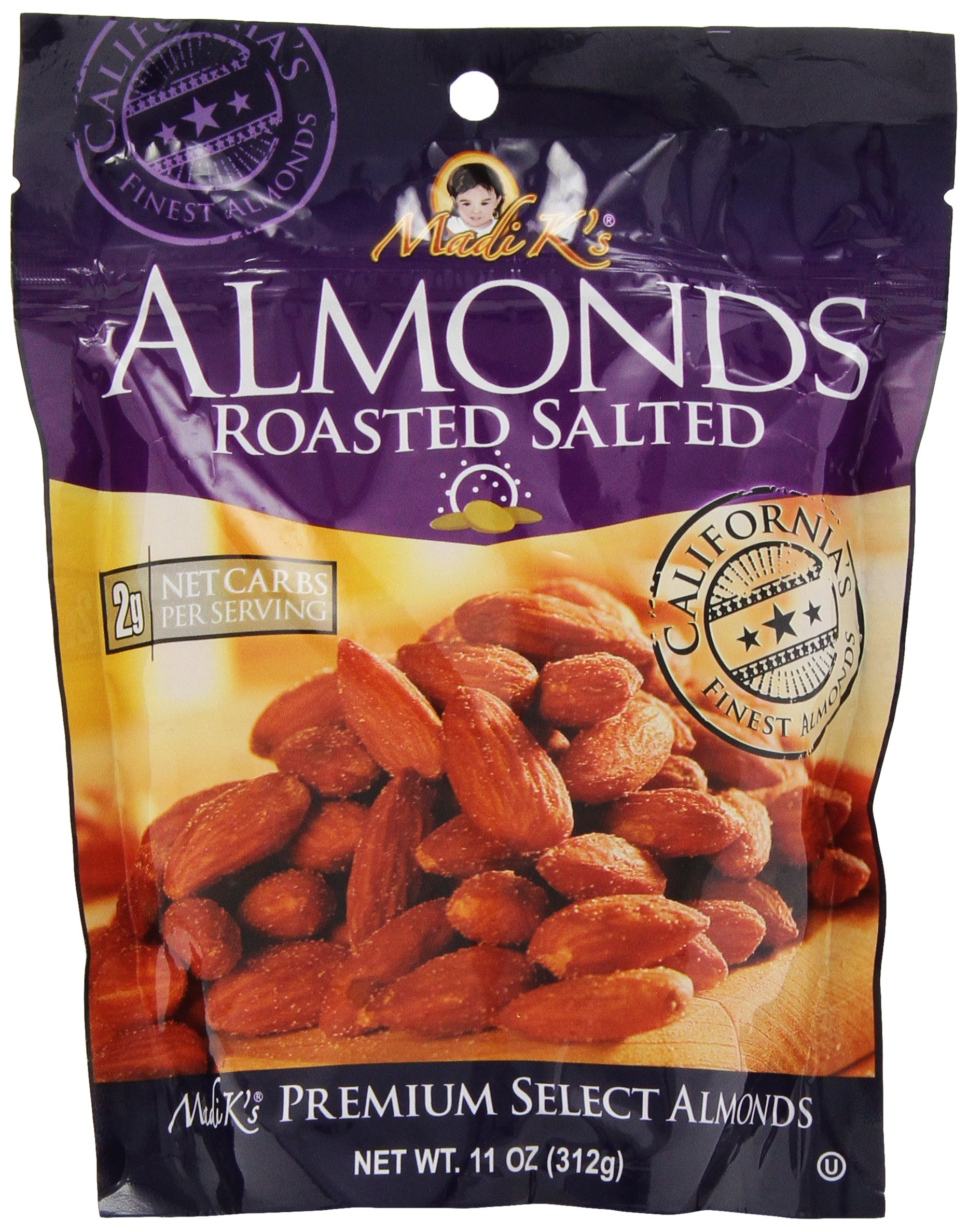 Madi K's Roasted and Salted Almonds, 11-Ounce Pouches (Pack of 4)