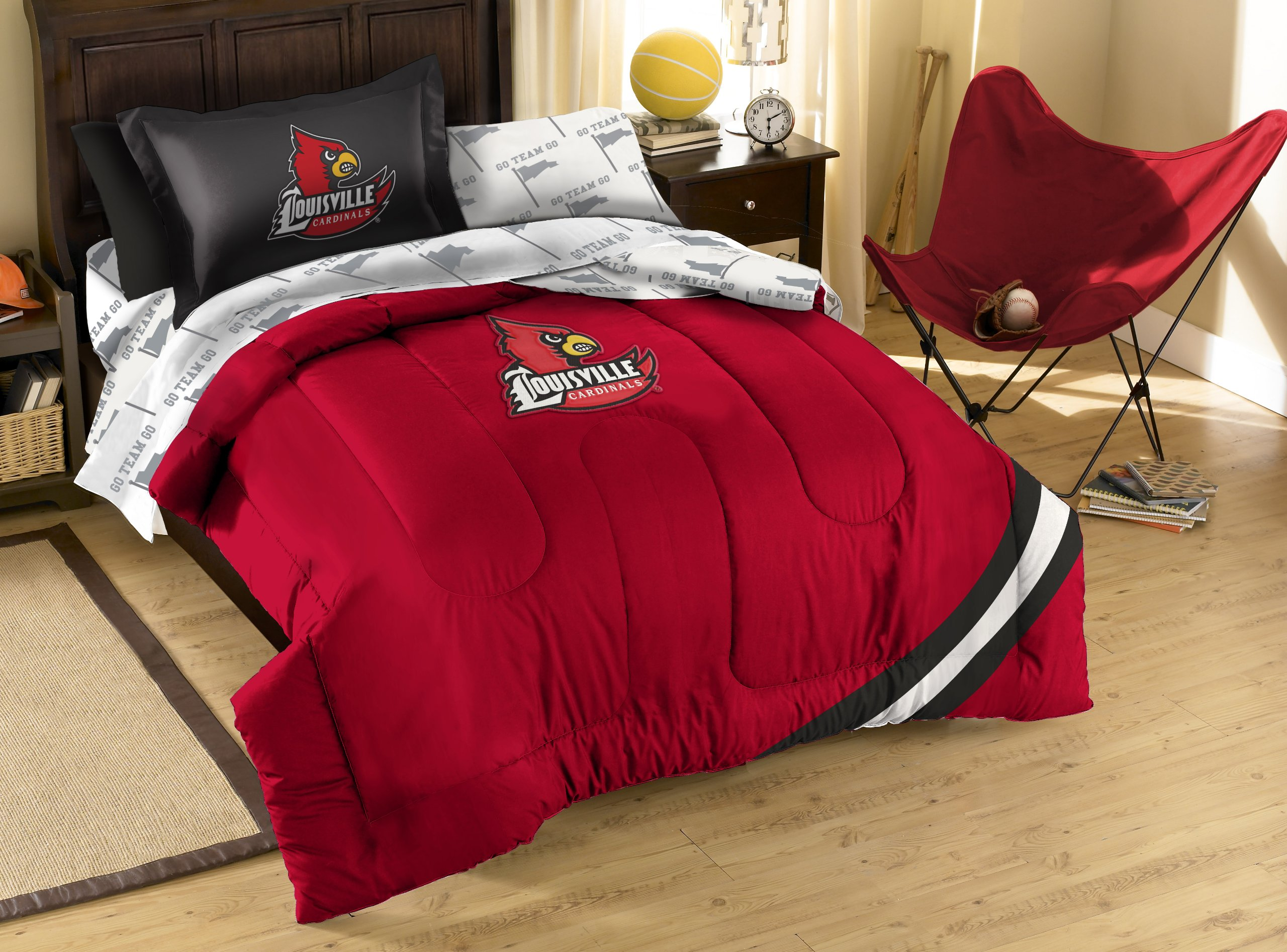 NCAA Louisville Cardinals Twin Bed in a Bag with Applique Comforter