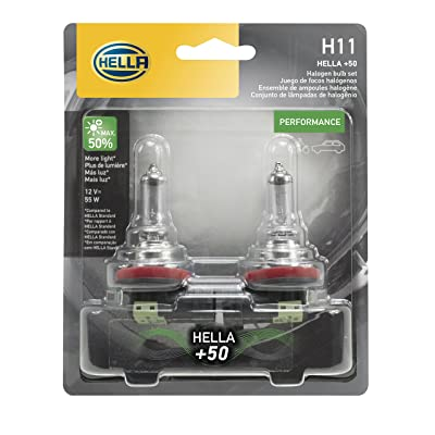 HELLA H11P50TB Twin Blister +50 Performance Bulb, 12V, 55W, 2 Pack: Automotive [5Bkhe1013719]