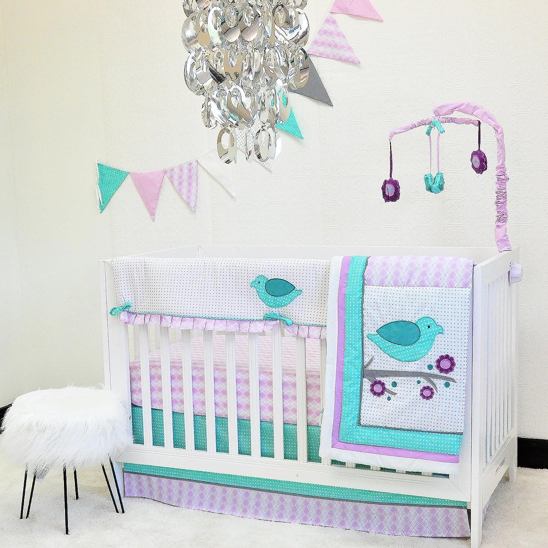Pam Grace Creations 10 Piece Lovebirds Nursery to Go Crib Bedding Set BDNB-LOVE