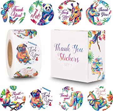 Amazon Com The Carefree Bee 1 5 Inch Animal Thank You Stickers 500 Stickers Per Roll 8 Designs Set 1 Office Products