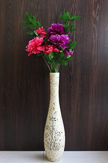 Buy Funkytradition 46 Tall Royal Decorative Big Home Decor Long White Wooden Designer Decorative Flower Vase 70 Cm Tall And 117 Cm Tall With Flower Online At Low Prices In India Amazon In