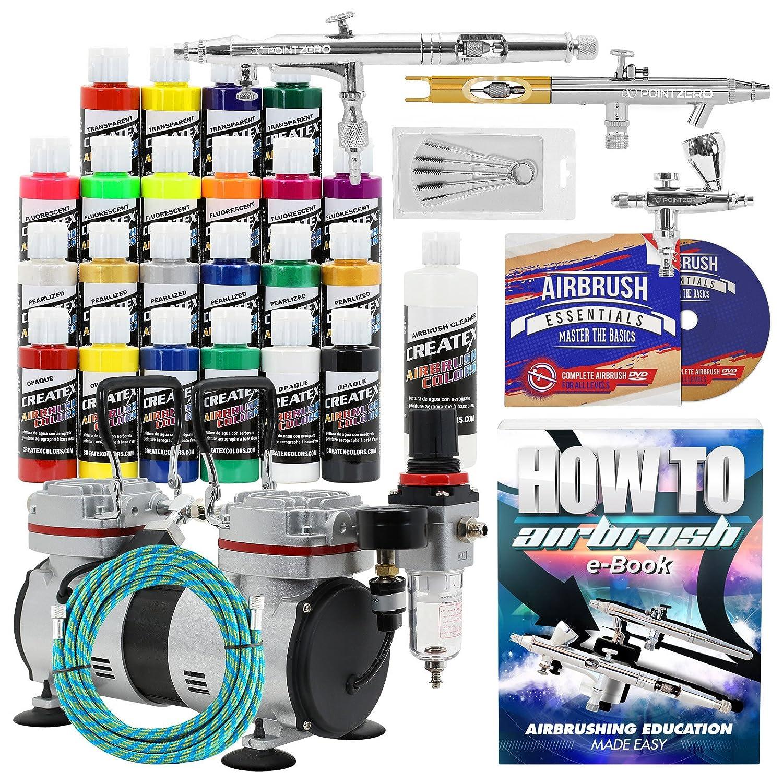 PointZero Multi-Purpose 3 Airbrush Kit w/Compressor and Createx Colors Set of 22 Paints PointZero Airbrush