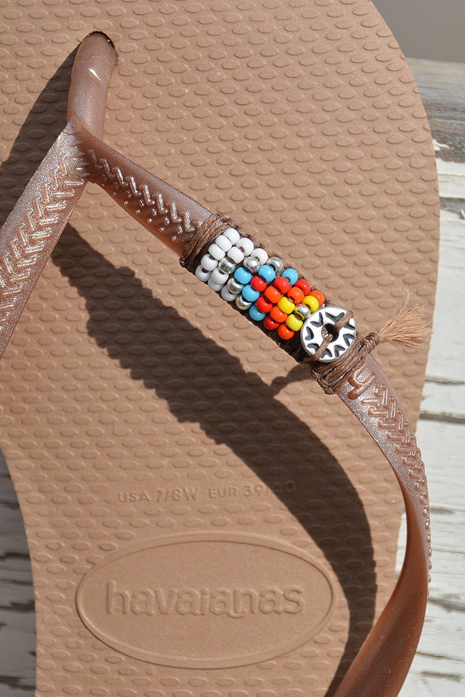 Women's Boho Flip Flops, Hippie Bohemian Colorful Beaded Sandals, Sizes 5-6 US, Havaianas, Vegan Handmade Shoes Women's Boho Flip Flops