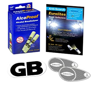 FML 3 Piece Kit Headlamp beam deflectors 1 x set + Twin Pack French Breathalysers Long Expiry Date + Magnetic GB Plate eurolites Alcoproof Breathalyzer Good Quality NF approved headlight converters European travel kit Travel abroad kit