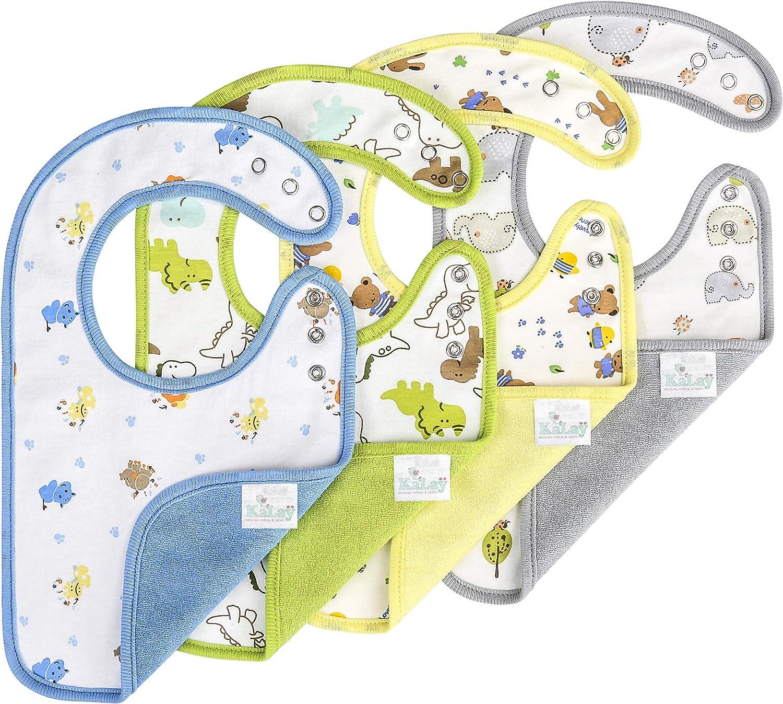 KāLaÿ 3-Layers Waterproof Baby Bib, Reversible, 3-Adjustable Snaps, Large, 4 Pack