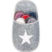 Levivo Set di 10 Pantofole in Feltro per Gli Ospiti, 1 Tasca-Pantofola Grande con Motivo a Stella, per Uomo e Donna, 5 Diverse Taglie e Colori