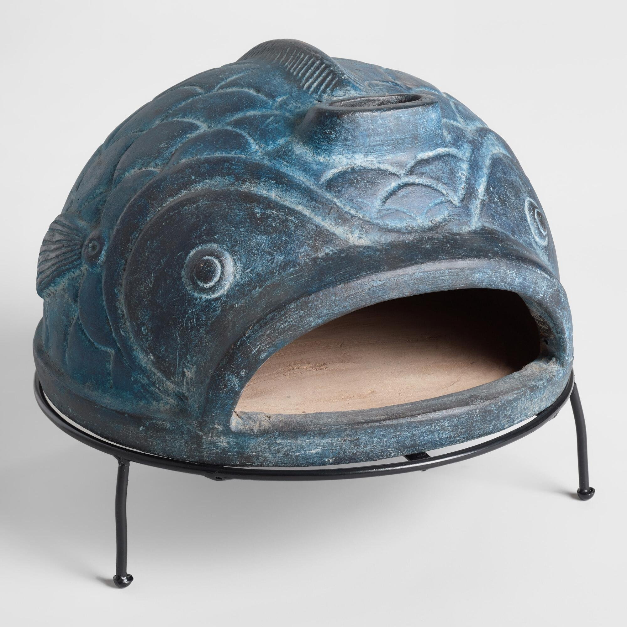 Decorative Blue Fish Terracotta Pizza Oven with Metal Grill Stand