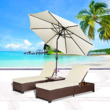 Cloud Mountain 4PC Outdoor Rattan Chaise Lounge Chair With 9u0027 Umbrella  Patio PE Wicker Rattan