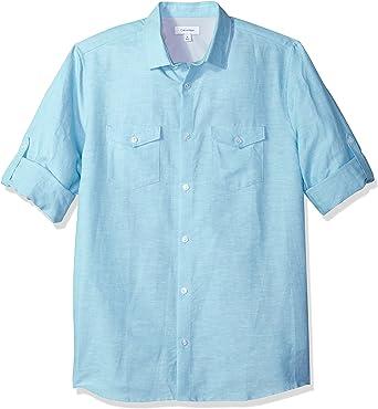 Calvin Klein Hombres 40H6273 Manga Larga Camisa de Botones - Azul - XX-Large: Amazon.es: Ropa y accesorios