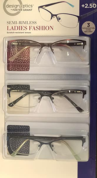 74c0f8ec74f0 Image Unavailable. Image not available for. Color  DESIGN OPTICS SEMI  RIMLESS LADIES FASHION READERS +2.5 3 PACK