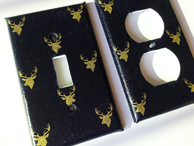 Amazoncom Navy Blue And Metallic Gold Deer Light Switch Plate