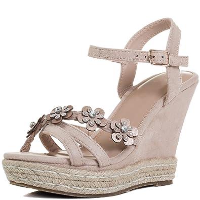 Spylovebuy SEDULOUS Women s Diamante Flower Wedge Heel Platform ... 71aace4235