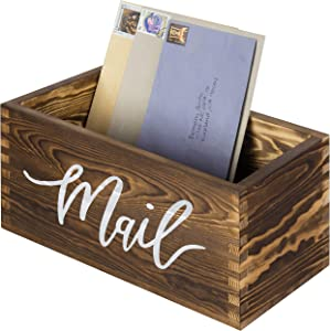 MyGift Rustic Dark Brown Wood Tabletop Decorative Mail Holder Box