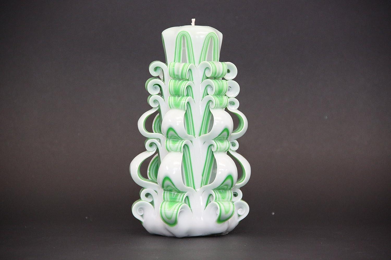Decorare Candele Bianche : Candela unica incisa a mano decorazione a strisce bianche e