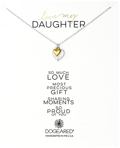 Amazoncom Dogeared Love My Daughter Feather Heart With Cupid Heart