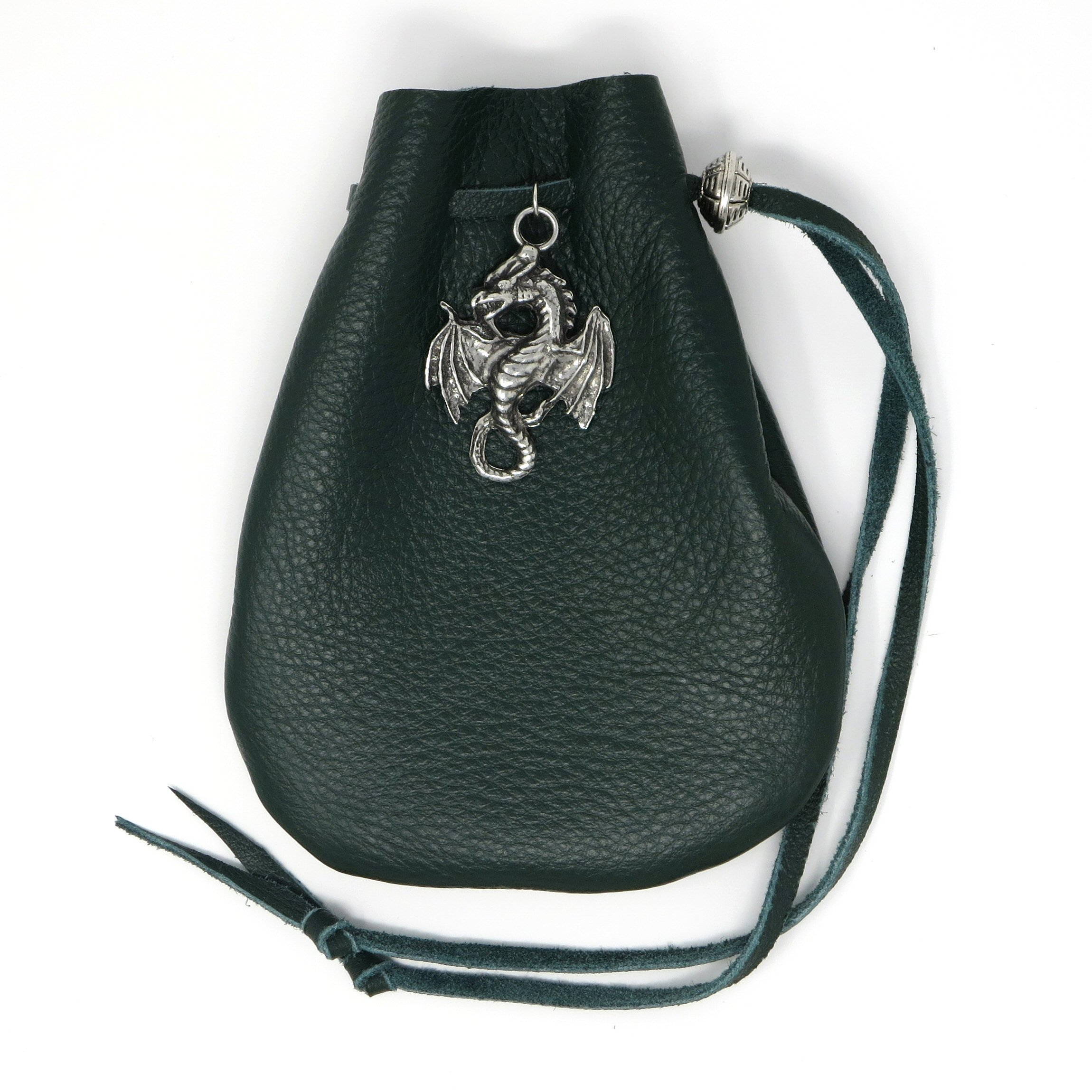 Green Leather Dice Bag with Dragon