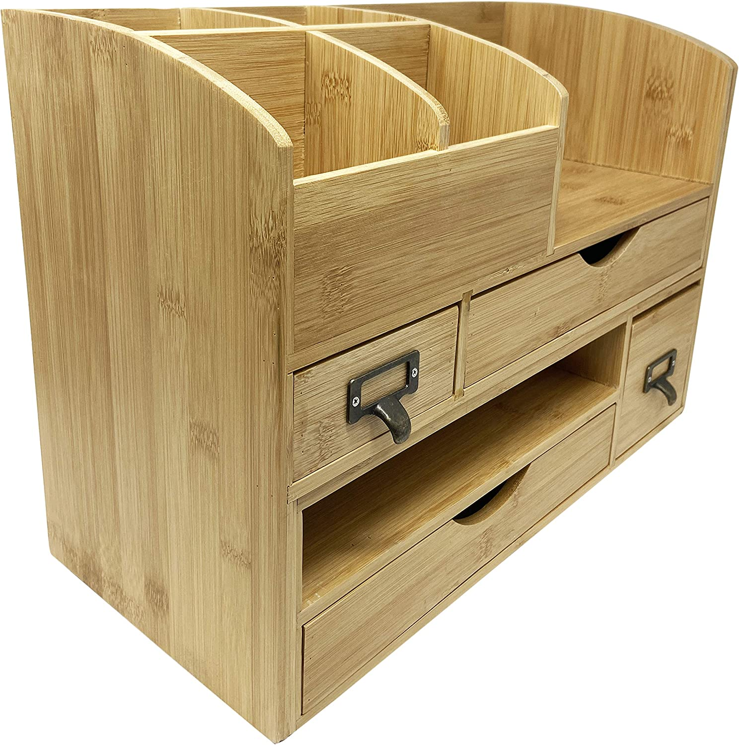 Executive Office Solutions Large Adjustable Wooden Office Desk Organizer for Desktop, Tabletop, or Counter – Wood Storage Shelf Rack – for Office Supplies, Desk Accessories, or Mail - Bamboo (WO13)