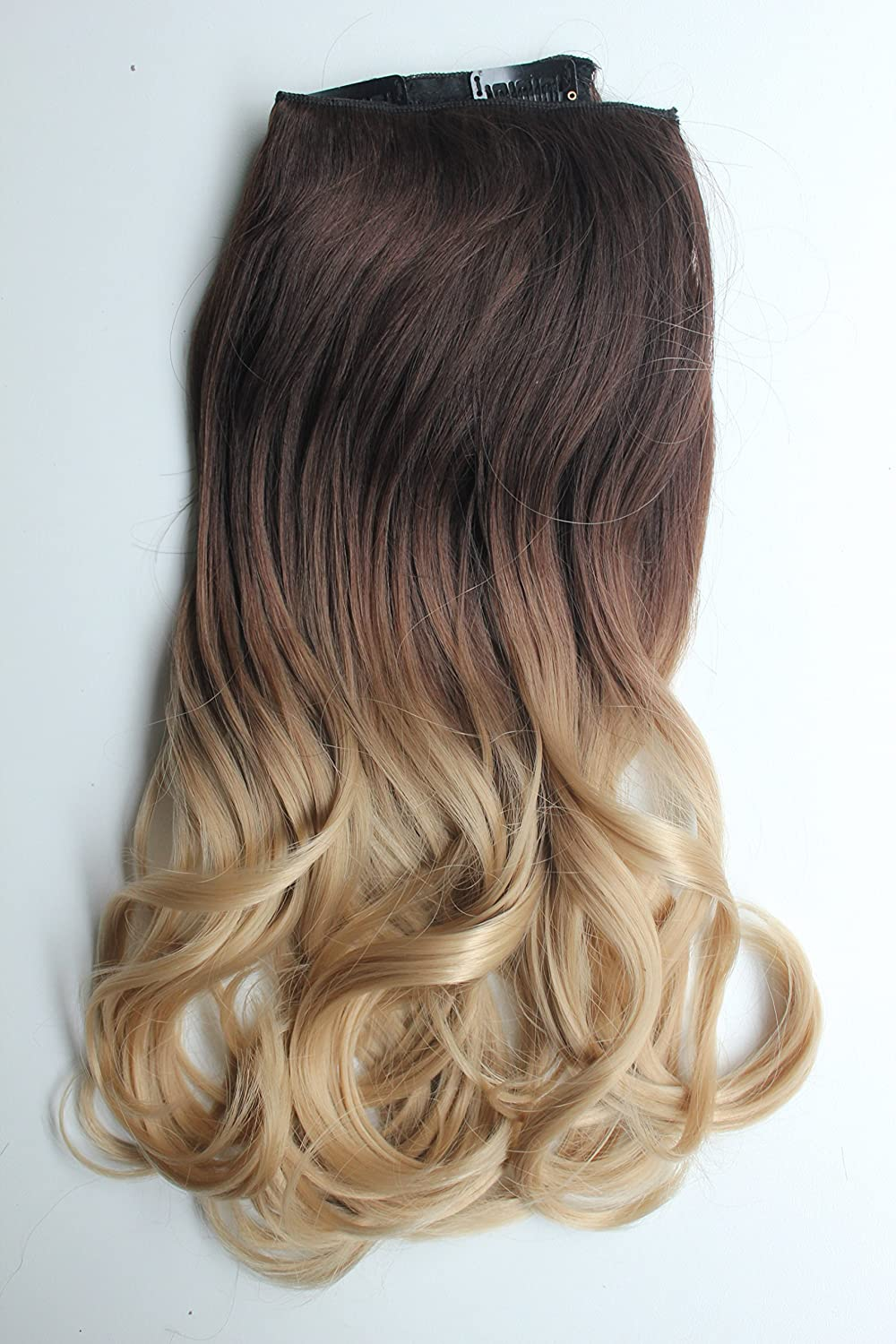 Ombre Full Head Clip In Hair Extensions 2461cm Curly Dark Brown