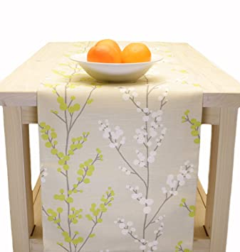 Delightful Table Runner Spring Easter Floral   Beige, Lime, White 60 Inch, 72 Inch