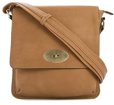 Big Handbag Shop Vegan Leather Unisex Medium Twist Lock Cross Body Messenger  Bag (Tan Medium f5c13cf7b65cf