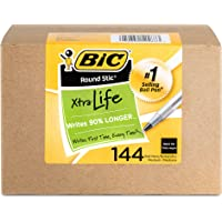 144-Count BIC Round Stic Xtra Life Ball Point Stick Pen