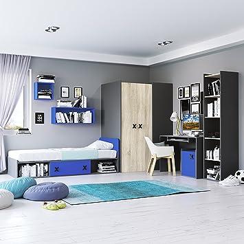 Kinderzimmermöbel junge  Jugendzimmermöbel Komplett Set IKS 01 (7 tlg.) Links Anthrazit/Eiche ...