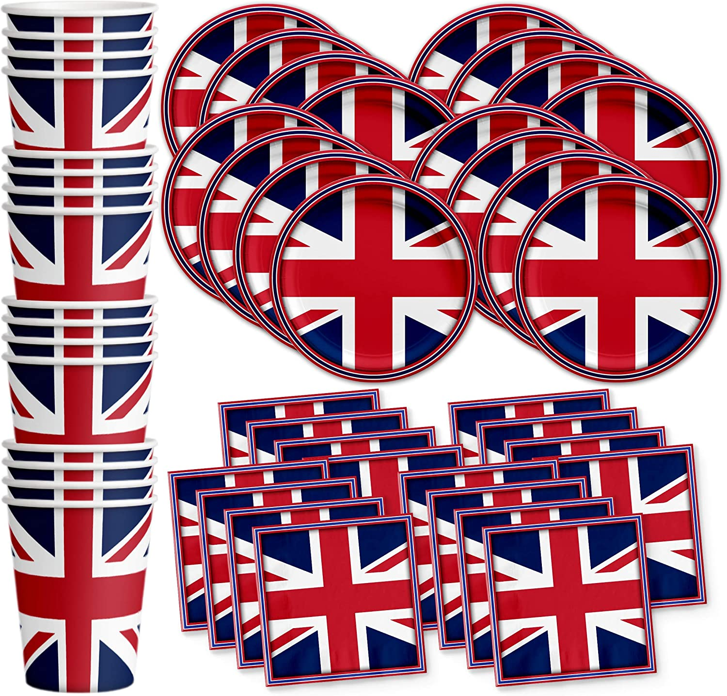 Britain UK England British Flag Birthday Party Supplies Set Plates Napkins Cups Tableware Kit for 16