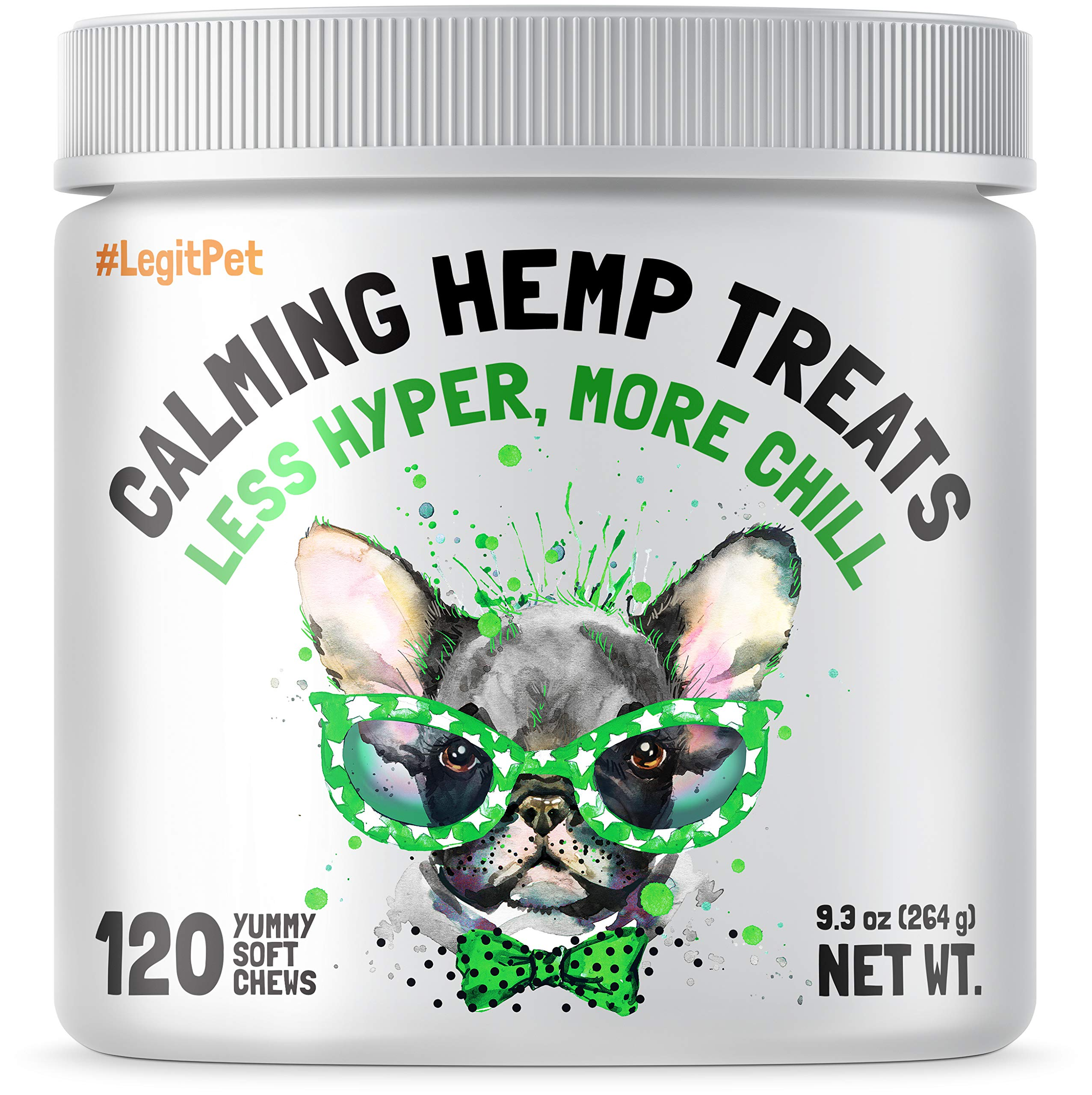 Calming Hemp Treats For Dogs - Made in USA with Organic Hemp - Dog Anxiety Relief - Natural Separation Aid - Helps with Barking, Chewing, Thunder, Fireworks, Aggressive behavior - 120 Soft Chews by LEGITPET