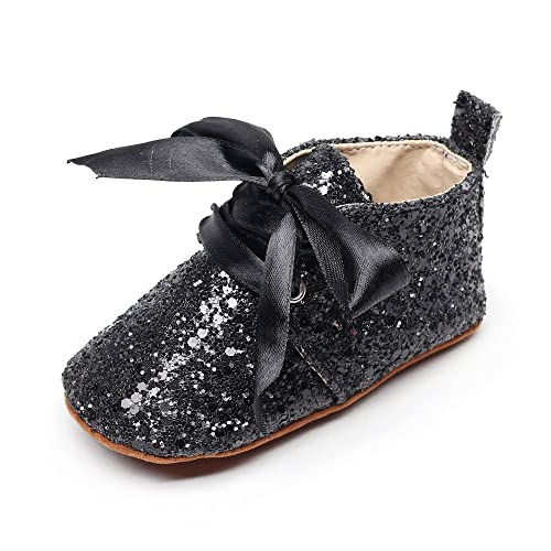 HONGTEYA Baby Girl Moccasins Bow-Knot Sequin Toddler Shoes Soft Soled Lace Up Crib Shoes