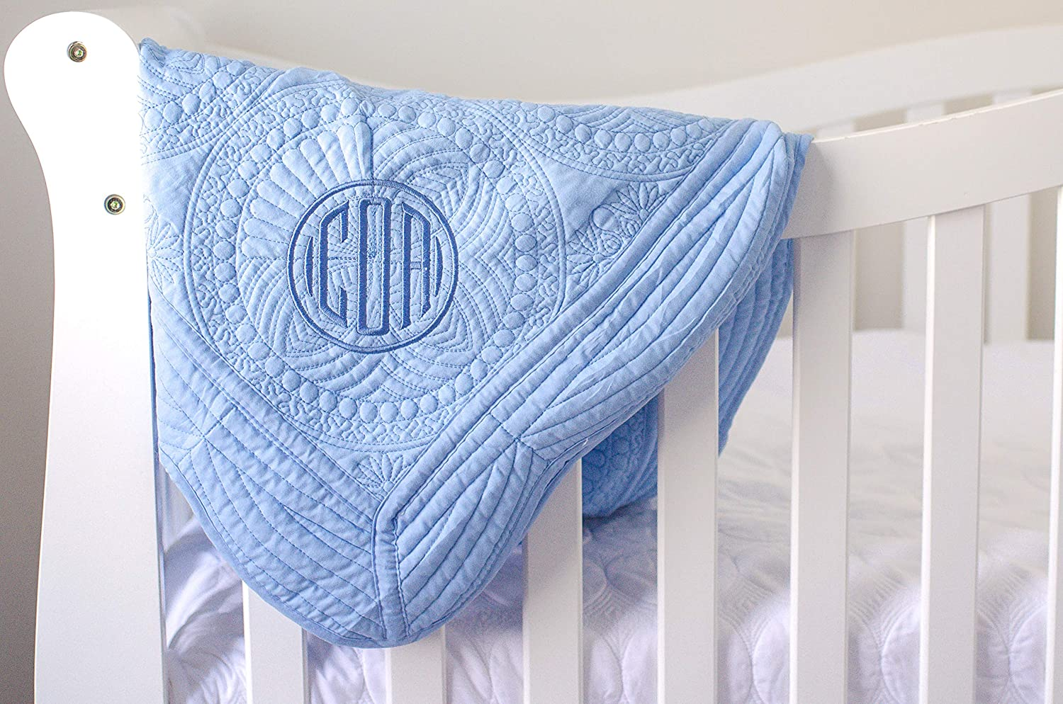 Blue Monogrammed Baby Quilt for Boys