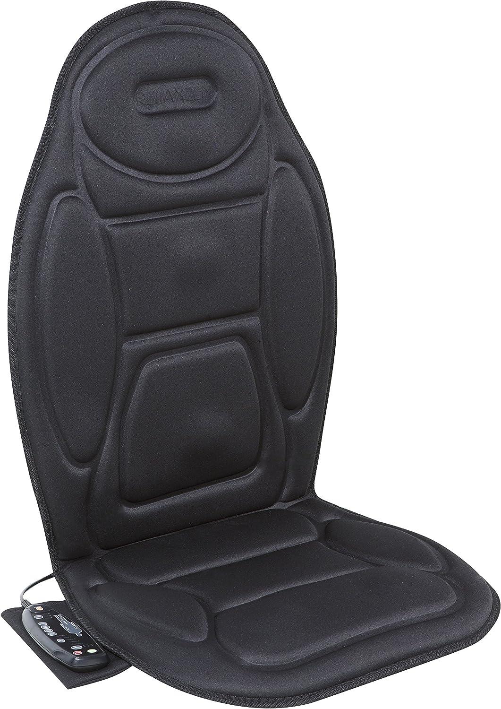 Relaxzen 5-Motor Massage Seat Cushion with Heat, Black