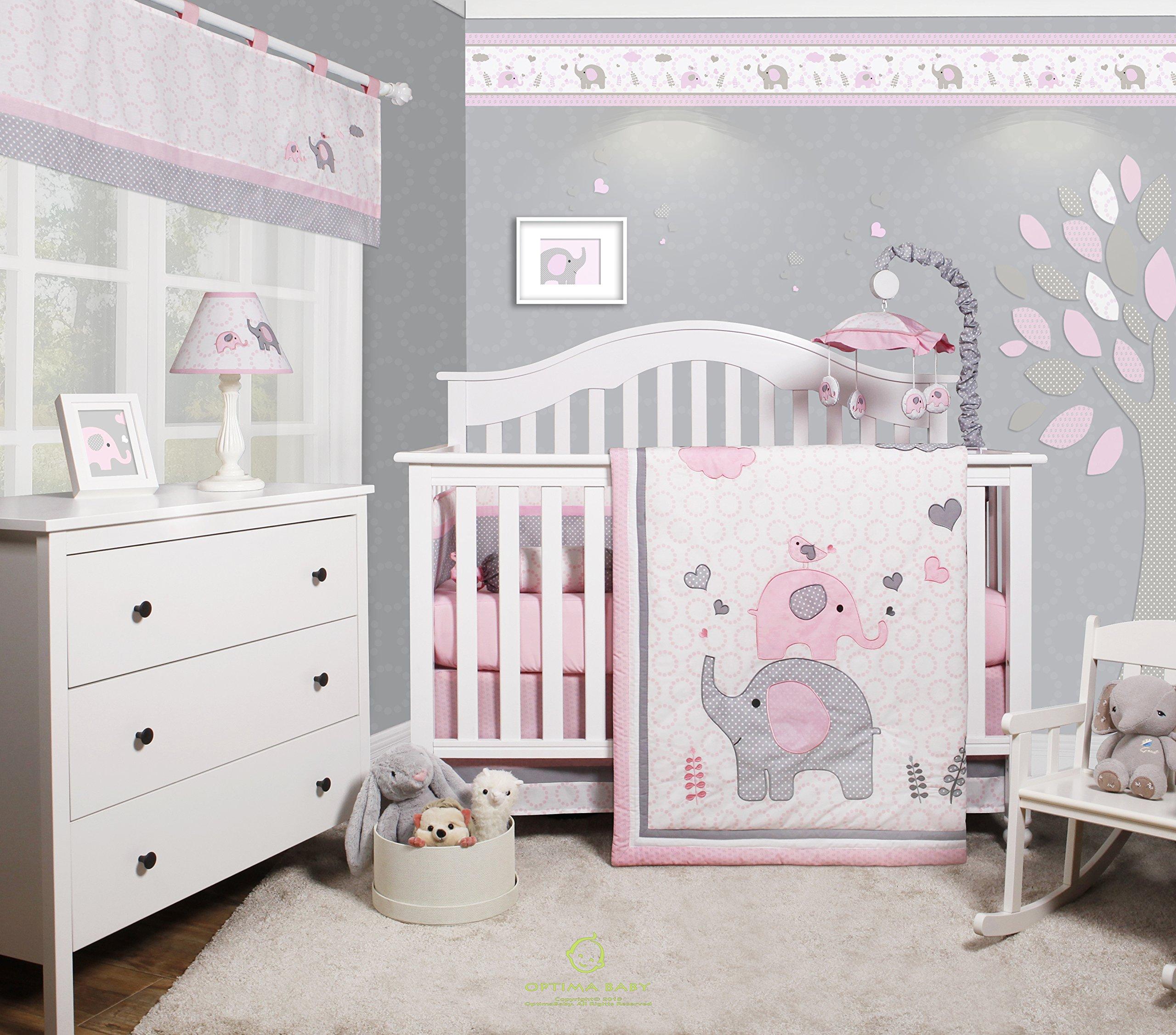 GEENNY OptimaBaby Pink Grey Elephant 6 Piece Baby Girl Nursery Crib Bedding Set by GEENNY