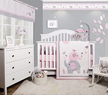 f4048584a Amazon.com : GEENNY OptimaBaby Pink Grey Elephant 6 Piece Baby Girl Nursery  Crib Bedding Set : Baby