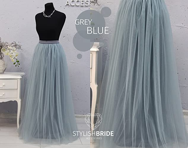 d1c664c2e Amazon.com: Dusty Blue #136 with slate grey lining, Dark tone tulle Effect,  Long Tulle Skirt Floor length, Bridesmaids dusty blue tulle skirt: Handmade