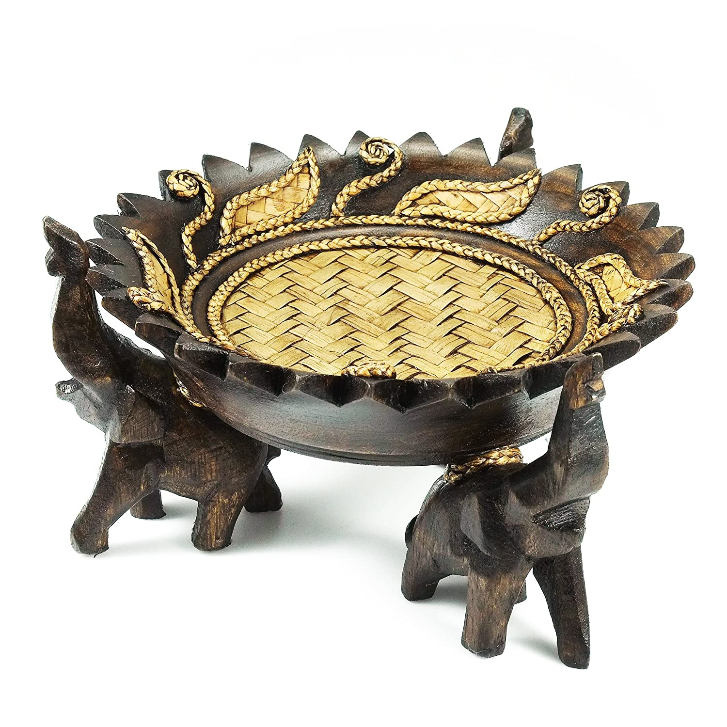 Rejoicing Elephant Tray Adorned with Royal Leaves Carved Rain Tree Wood Circular Bowl - Fair Trade Handicraft by Thai Artisans