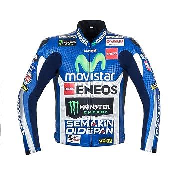 Movistar Yamaha profesional equipo de carreras chaqueta de piel Para Moto: Amazon.es: Coche y moto