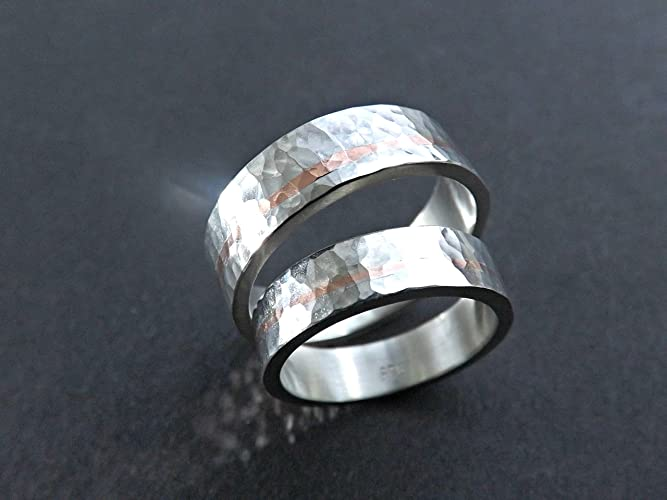 Amazon.com: mixed metal wedding band set, unique wedding rings two ...