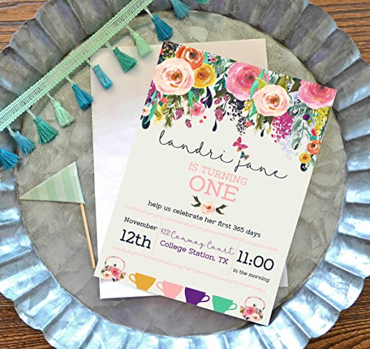 Tea Party Birthday Invitation Set Of 10 Vintage