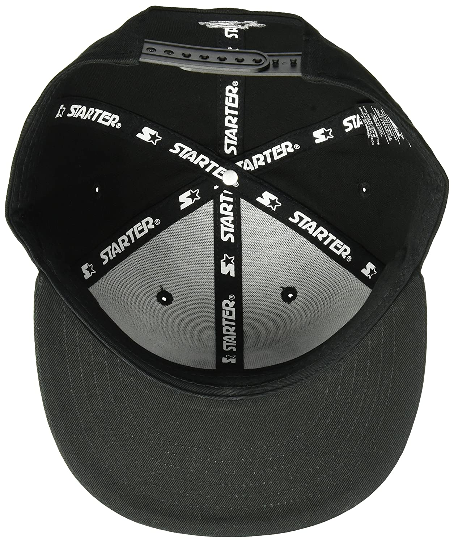 7221de5e Amazon.com: Starter Men's Snap-Back Flat Brim Cap, Amazon Exclusive, Black  with Vapor Grey, One Size: Clothing