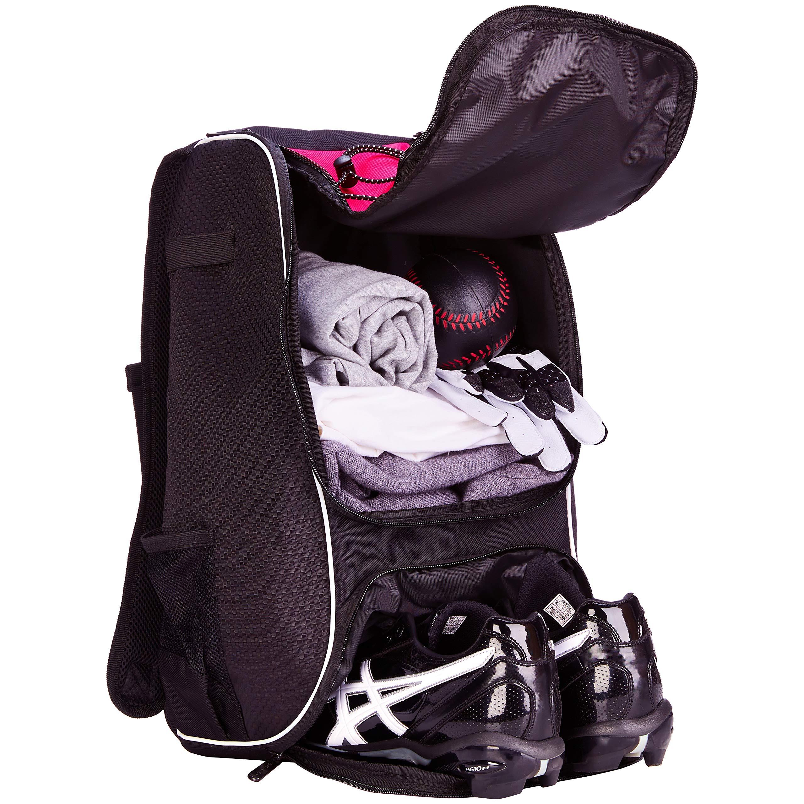 AmazonBasics Youth Baseball Equipment Backpack, Pink by AmazonBasics (Image #4)