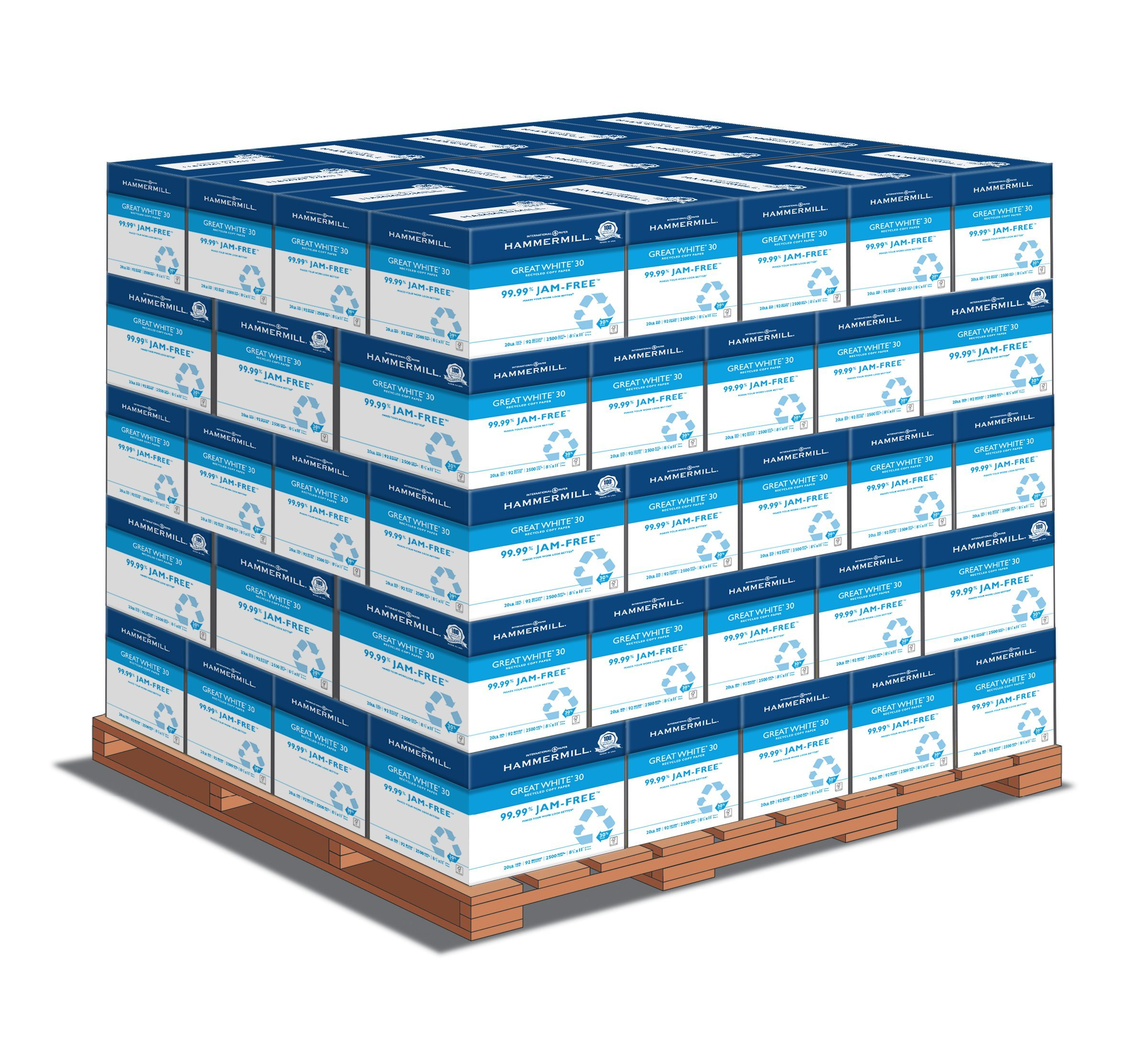 Hammermill Paper, Great White Copy, 30% Recycled , 20lb, 8.5x11, Letter, 92 Bright 2500 Sheets / 80 Cartons Per Pallet Pricing, 200,000 Sheets (86710PLT), Made In The USA