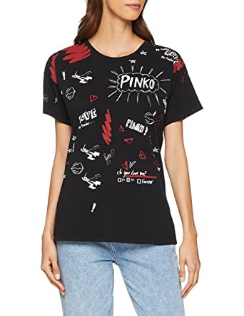 8a8dd0fce6 Pinko Women's Carmine T-Shirt Jersey Di Coto: Amazon.co.uk: Clothing